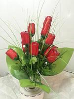 Букет розы NA-18/12 (10 шт/уп) Цветы искусственные оптом, фото 1