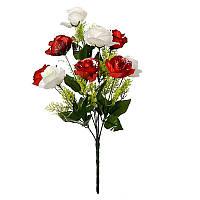 Букет розы двухцветной с добавками на 9 голов NM 3 (12 шт./уп.) Искусственные цветы оптом, фото 1