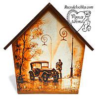 Ключниця будиночок Машина з парою, 4 гачка, ручна робота, середня 18 * 23 см