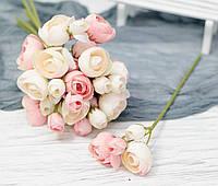 Ветка цветков ранункулуса премиум. молочно-персиковый, фото 1