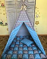 """Вигвам для мальчика серо голубой """" Забота в бирюзовом"""". Палатка. домик для игр"""