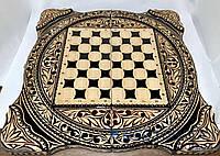 Нарды, шахматы, шашки ручной работы КОЗАКИ VIP (70х70 см.) + чехол