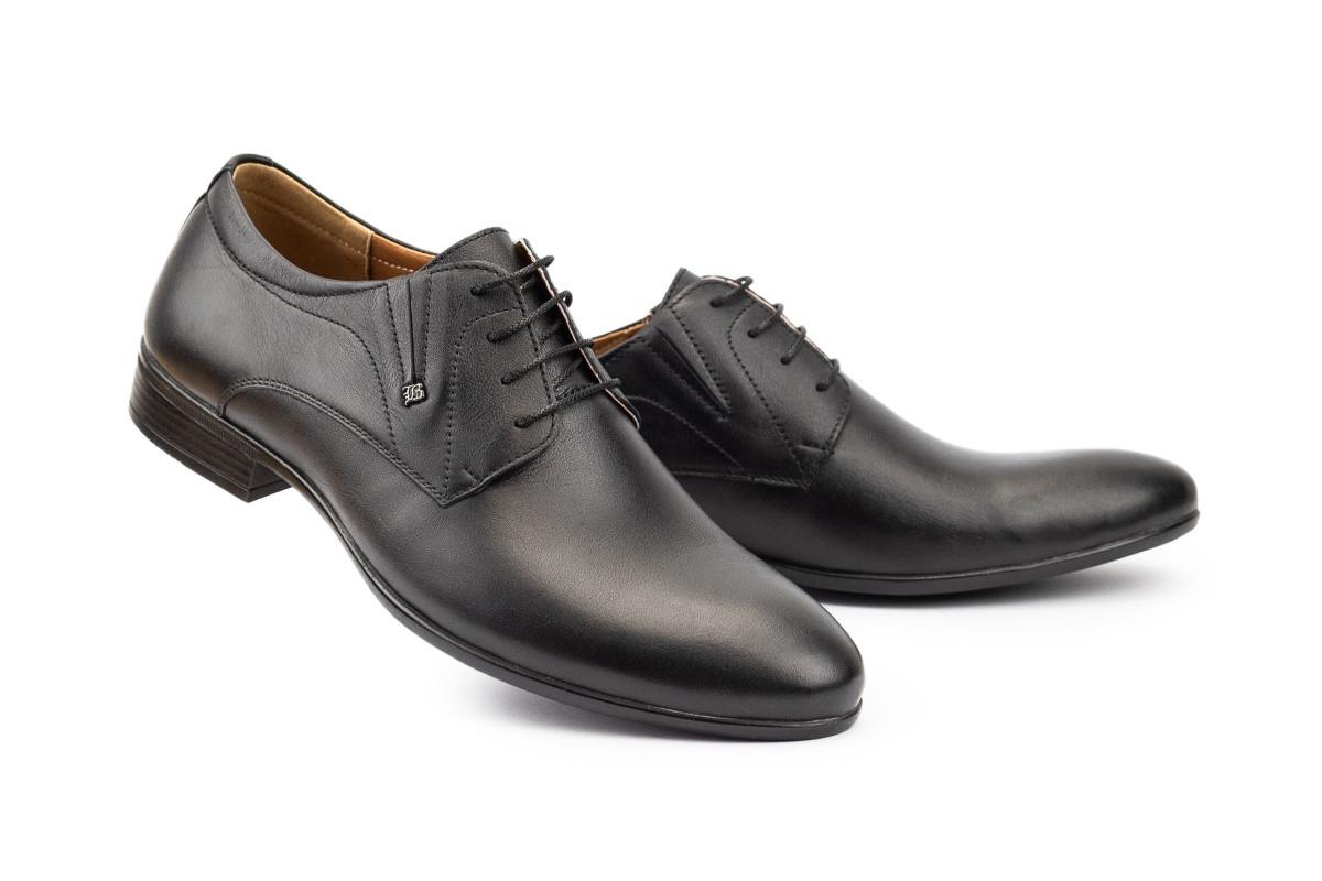 Чоловічі туфлі шкіряні весна / осінь чорні Stas 335-09-67 р.  43 44 45