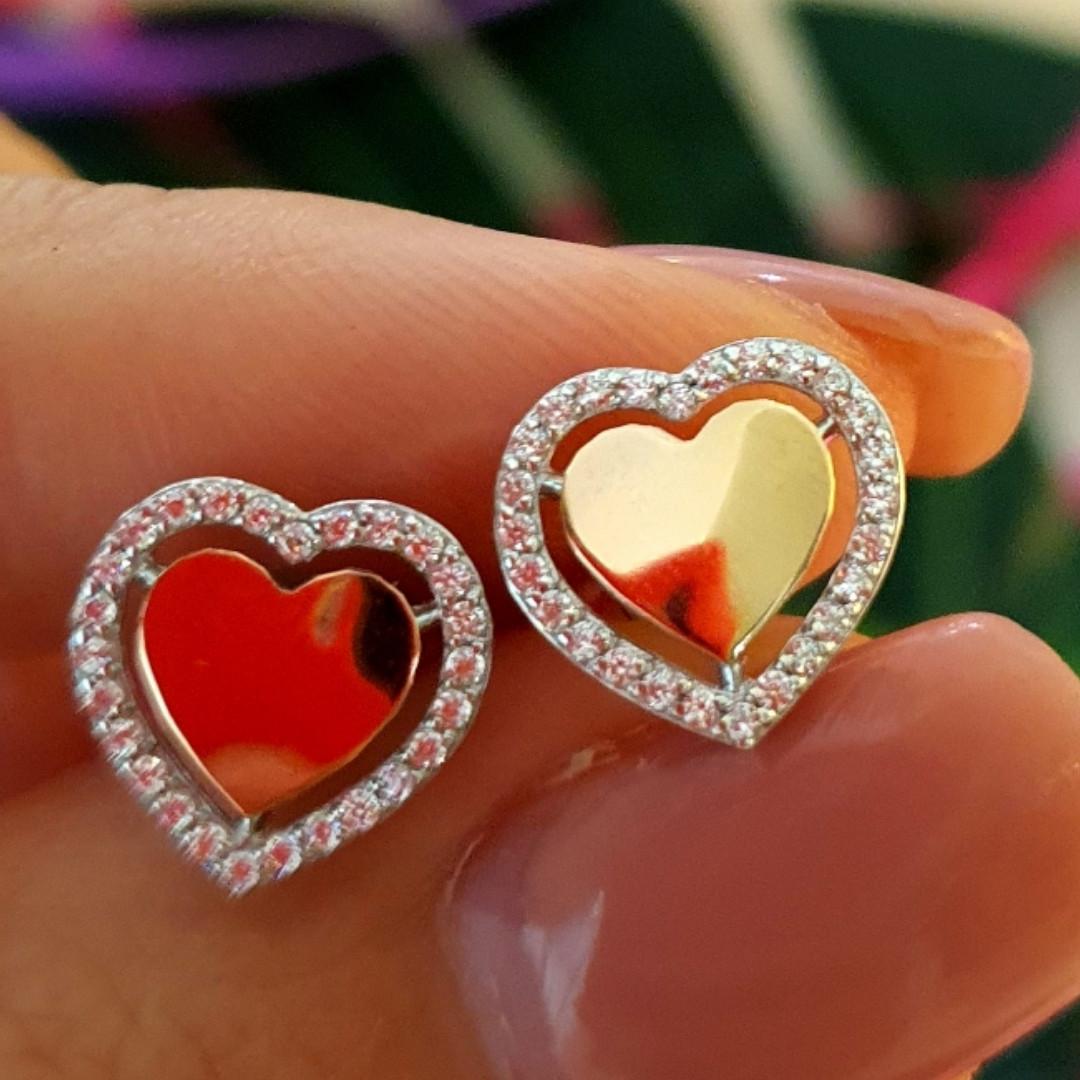 Серьги Сердце серебро с золотом - Серебряные серьги в форме Сердца