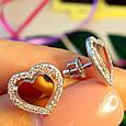 Серьги Сердце серебро с золотом - Серебряные серьги в форме Сердца, фото 2