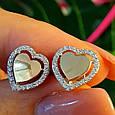 Серьги Сердце серебро с золотом - Серебряные серьги в форме Сердца, фото 4