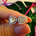 Серьги Сердце серебро с золотом - Серебряные серьги в форме Сердца, фото 3
