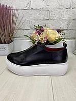 36 р. Кеды женские черные кожаные на подошве, из натуральной кожи, натуральная кожа, фото 1