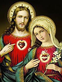"""Набор алмазной вышивки (мозаики) """"Святые сердца Иисуса и Марии"""""""