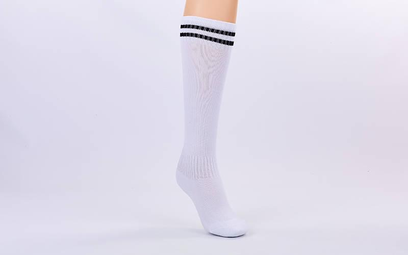 Гетры футбольные детские размер 27-34, Белый, черная полоса