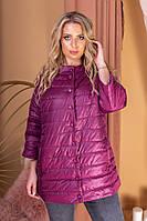 Женская куртка большие размеры, арт 203, цвет марсала / вишнёвый
