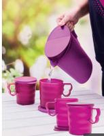 """Набор для приготовления напитков: кувшин """"Очарование"""" 2.1 л и 4 кружки 350 мл цвета марсала. Выгодная покупка"""