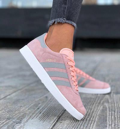 Женские кроссовки Adidas Gazelle Pink/Grey, фото 2
