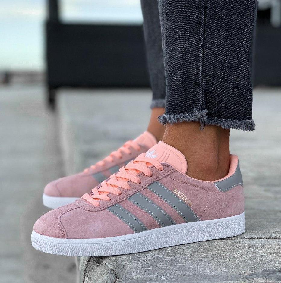 Женские кроссовки Adidas Gazelle Pink/Grey