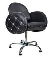 Парикмахерское кресло клиента для салона красоты, с мягкими овальными подлокотниками в стразах Спарк (Spark)