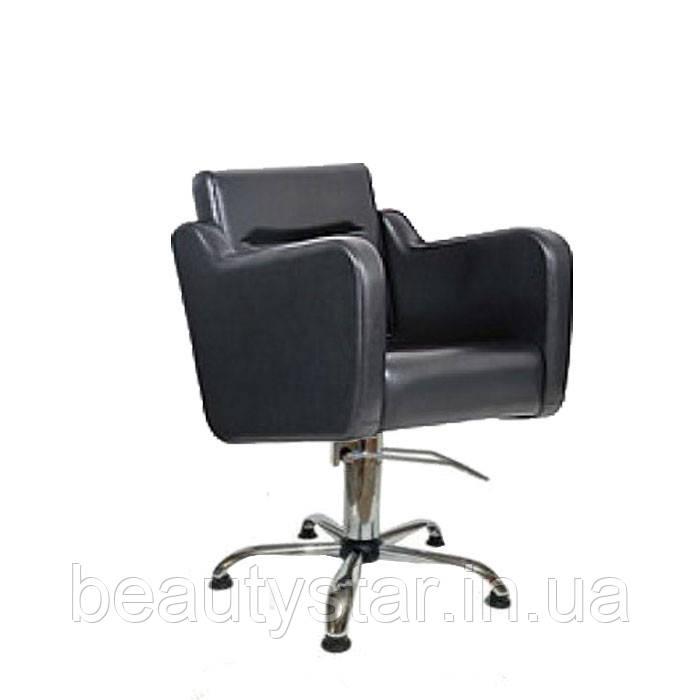 Парикмахерское кресло мужское широкое, квадратной формы с мягкими подлокотниками для салона Стенли