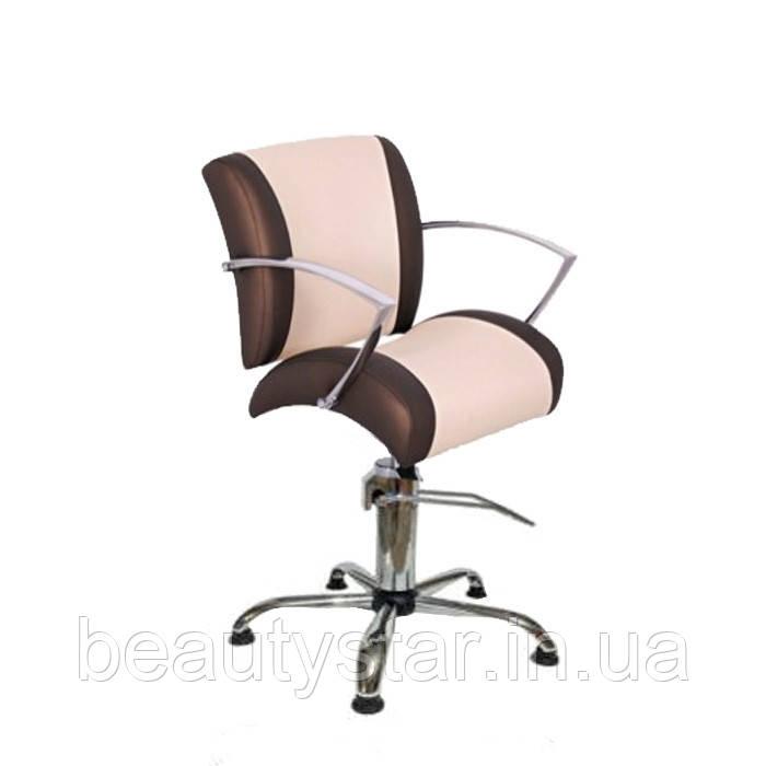 Крісло перукарське з хромованими підлокітниками, механізм підйому на вибір, установка на різні бази Єві