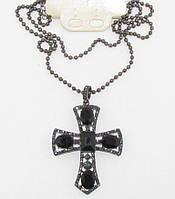 Большой крест в стразах 8 см на цепочке