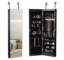 Зеркало шкаф подвесной для бижутерии с LED подсветкой Черный