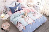 КОМПЛЕКТ ПОСТЕЛЬНОГО БЕЛЬЯ. Цвет розовый, голубой с котятами. Ткань БЯЗЬ. размер - ПОЛУТОРКА, 1,5-ка