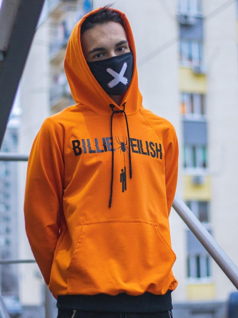 Спортивная кофта с капюшоном / Худи унисекс Billie Eilish Spider оранжевая