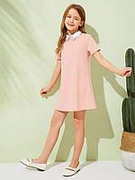 Платье для девочки и мамы с воротником прямое мини 24-60 размер