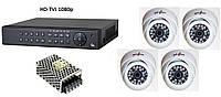 Комплект цифрового видеонаблюдения HD-TVI 1080p на 4 внутренних камеры