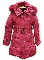Пальто зимнее для девочки на холлофайбере. Опушка натуральная