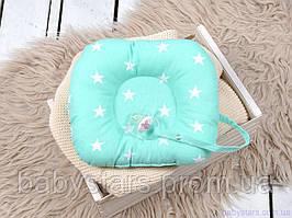 Дитяча подушка для новонароджених з тримачем для пустушки, м'ятна з білими зірками