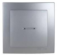 Выключатель одноклавишный с подсветкой серебро