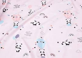 Сатин-твил Панды розовый фон
