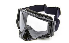 Мотоочки JIE POLLY прозрачный визор J027-1 Взрослая, Черный