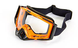 Мотоочки JIE POLLY прозрачный визор J027-1 Взрослая, Оранжевый