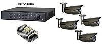 Комплект цифрового видеонаблюдения HD-TVI 1080p на 4 внешних камеры, фото 1