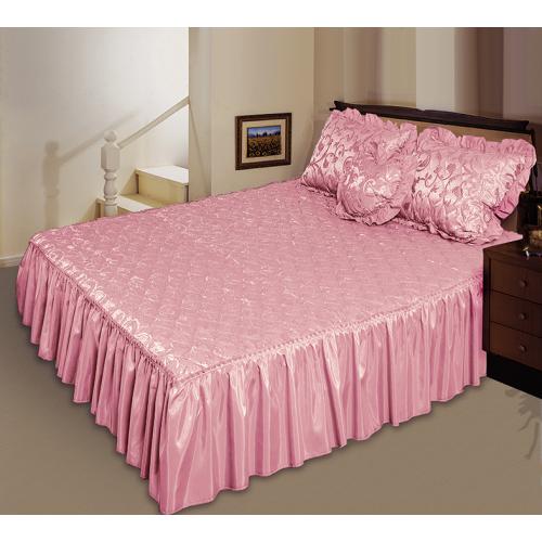 Комплект ТЕП Романс розовый: покрывало, декоративная подушка, подушка сердечко.