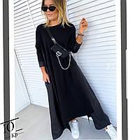 Женское свободное чёрное платье спортивного плана большие размеры