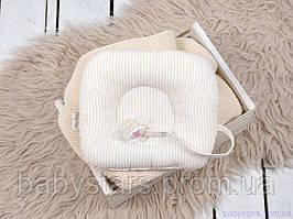 """Дитяча ортопедична подушка для новонароджених з тримачем для пустушки """"Бежеві смуги"""""""