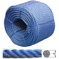 Синяя верёвка 8 мм полиэстер двойной завивки 200 метров