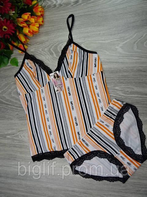 Набор майка и трусики Indena  хлопок L (44-46) белый оранжевая полоска (07008)