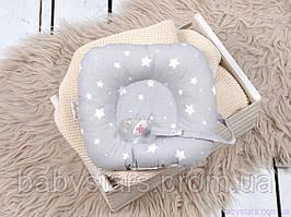"""Подушки в ліжечко для новонароджених з тримачем для пустушки """"Білі зірки на сірому"""""""