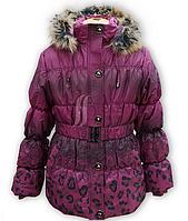 Куртка зимняя для девочки на холлофайбере. Опушка натуральная
