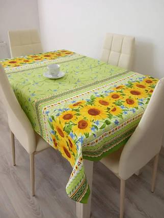 Скатертина їдальня 220х150 см з рогожки Соняшник на зеленому TRA-3-304, фото 2