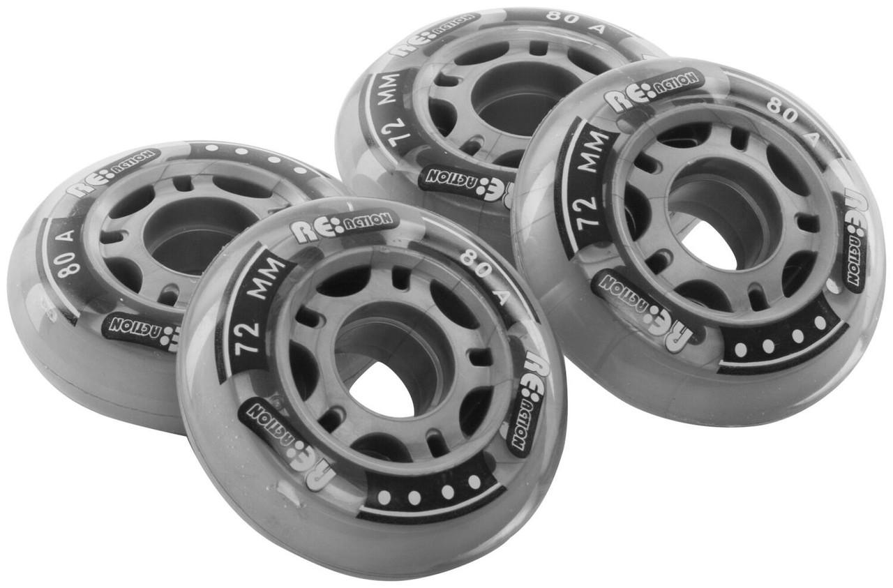 Набор колес для роликов REACTION 72 мм, 80А, 4 шт, прозрачный