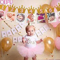 """Фоторамка баннер 1-12 месяцев корона с зажимом """" первый год малышки"""" для девочки"""