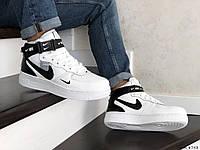 Мужские кроссовки в стиле Nike Air Force, кожа, прошитые, белые с черным 44 (28 см)
