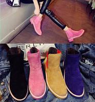 Яркие короткие ботинки под замш, выбор расцветки