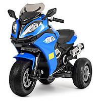 Детский трехколесный электромобиль мотоцикл от 3 до 6 лет BMW 3913 синий. Электро-мотоцикл для детей