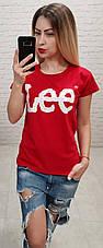 """Футболка женская хлопковая """"LEE"""" реплика Турция размер S,M,L (от 3 шт), фото 3"""