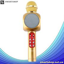 Микрофон караоке WSTER WS-1816 - беспроводной Bluetooth микрофон с cветомузыкой, слотом USB и FM тюнером, фото 2