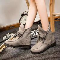 Удобные ботинки из замши и PU кожи